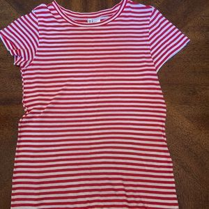 Red and White Striped Womens Shirt